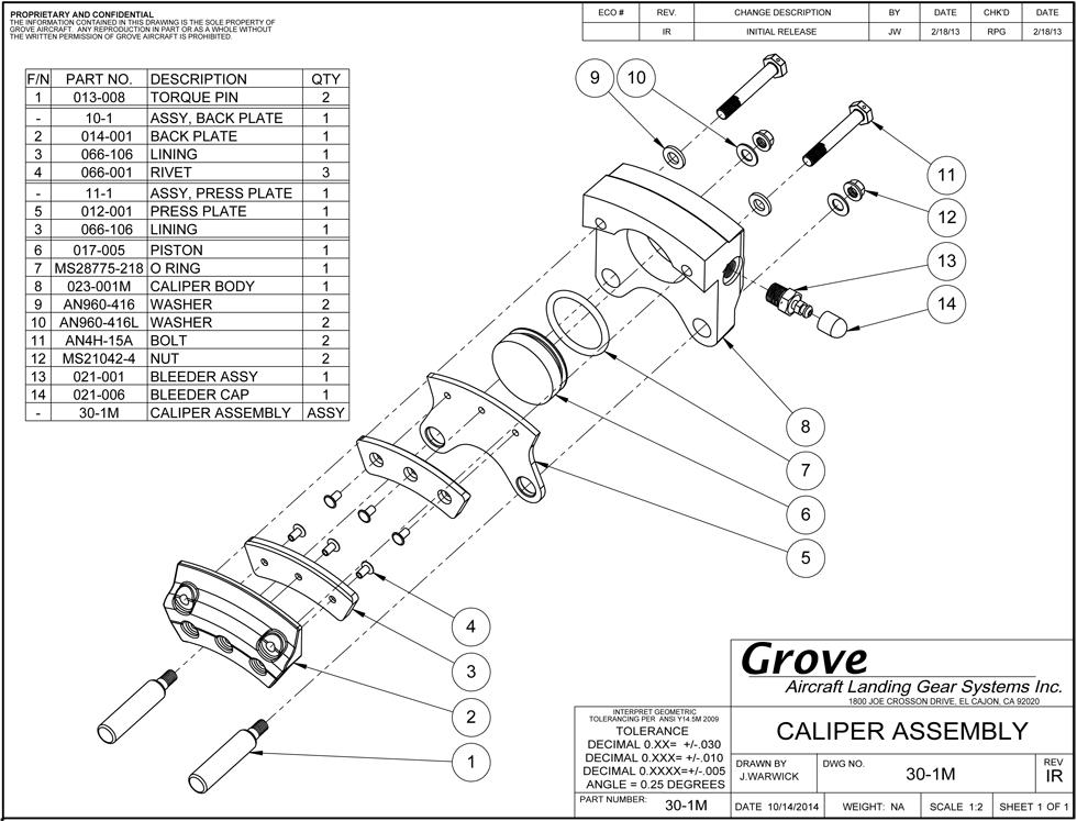30 1m Brake Caliper Assembly
